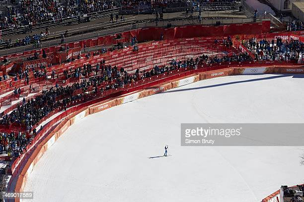 2014 Winter Olympics Aerial view of fans and spectators in stands during Women's Downhill Final at Rosa Khutor Alpine Center Krasnaya Polyana Russia...