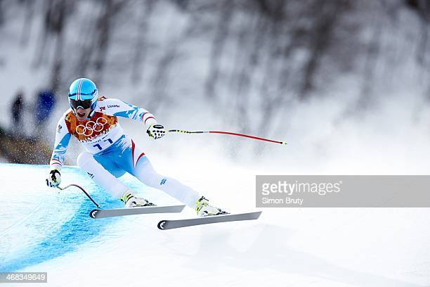 2014 Winter Olympics Austria Matthias Mayer in action during Men's Downhill at Rosa Khutor Alpine Center Mayer wins gold Krasnaya Polyana Russia...