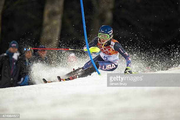 2014 Winter Olympics USA Mikaela Shiffrin in action during Women's Slalom Run 2 at Rosa Khutor Alpine Center Shiffrin won gold Krasnaya Polyana...