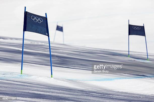 2014 Winter Olympics View of markers on course during Women's Downhill Final at Rosa Khutor Alpine Center Krasnaya Polyana Russia 2/12/2014 CREDIT...