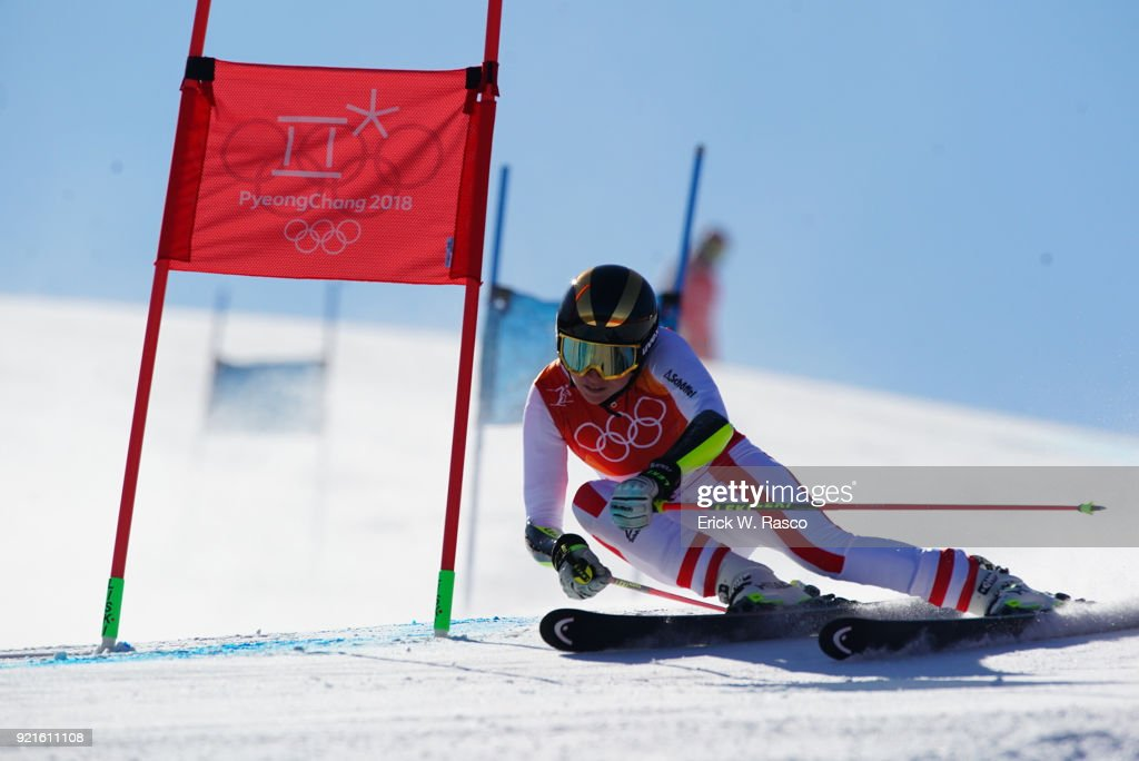 Austria Bernadette Schild (24) in action during Women's Giant Slalom Final at Yongpyong Alpine Centre. PyeongChang, South Korea 2/15/2018 Erick W. Rasco X161681 TK1 )