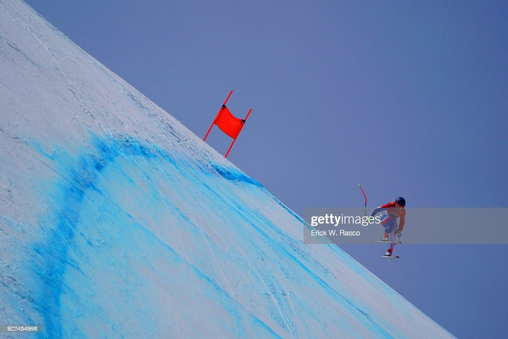 France Jennifer Piot (23 ) in action during Women's Downhill Final at Jeongseon Alpine Centre. PyeongChang, South Korea 2/21/2018 Erick W. Rasco X161687 TK1 )