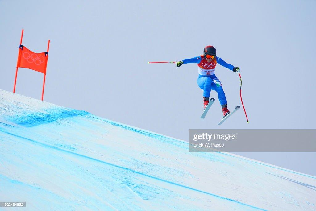 Italy Sofia Goggia in action during Women's Downhill Final at Jeongseon Alpine Centre. Goggia won gold medal. PyeongChang, South Korea 2/21/2018 Erick W. Rasco X161687 TK1 )