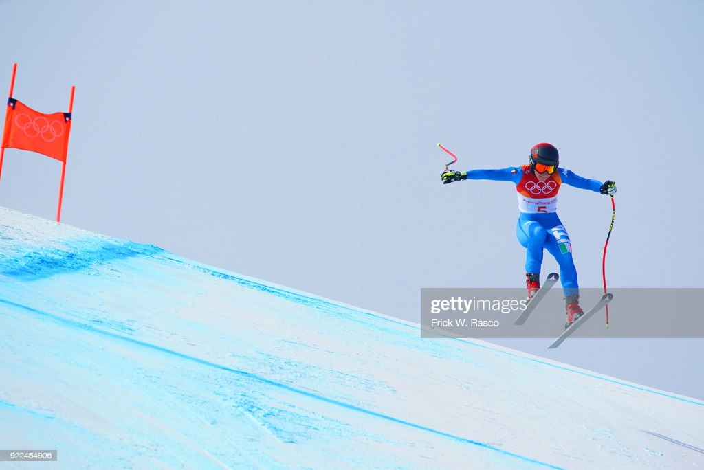 Italy Sofia Goggia in action during Women's Downhill Final at Jeongseon Alpine Centre. Goggia won gold medal. PyeongChang, South Korea 2/21/2018 Erick W. Rasco X161687 TK1 )