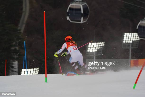 2018 Winter Olympics Rear view of USA Mikaela Shiffrin in action during Women's Alpine Combined Slalom Final at Jeongseon Alpine Centre Shiffrin wins...
