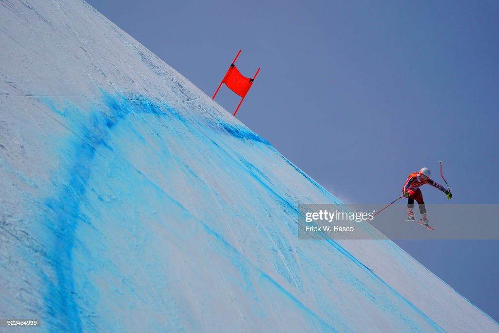 Switzerland Jasmine Flury (20) in action during Women's Downhill Final at Jeongseon Alpine Centre. PyeongChang, South Korea 2/21/2018 Erick W. Rasco X161687 TK1 )