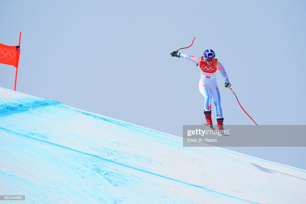 USA Breezy Johnson (8) in action during Women's Downhill Final at Jeongseon Alpine Centre. PyeongChang, South Korea 2/21/2018 Erick W. Rasco X161687 TK1 )
