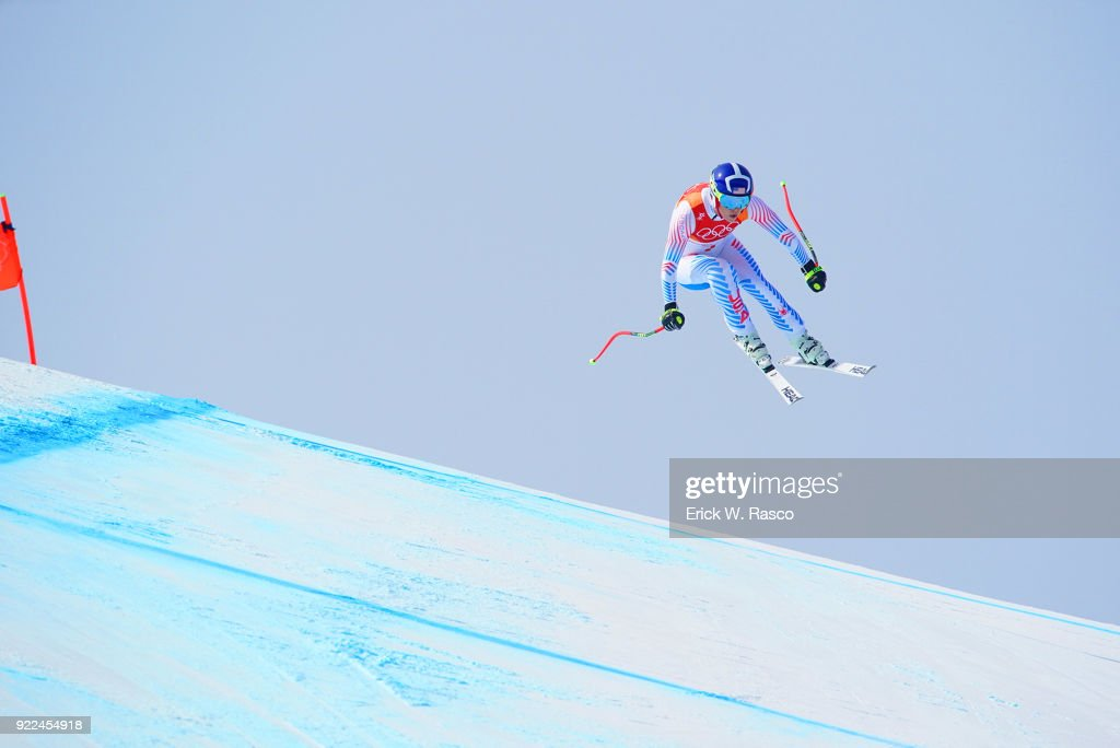 USA Lindsey Vonn (7) in action during Women's Downhill Final at Jeongseon Alpine Centre. Vonn won bronze medal. PyeongChang, South Korea 2/21/2018 Erick W. Rasco X161687 TK1 )