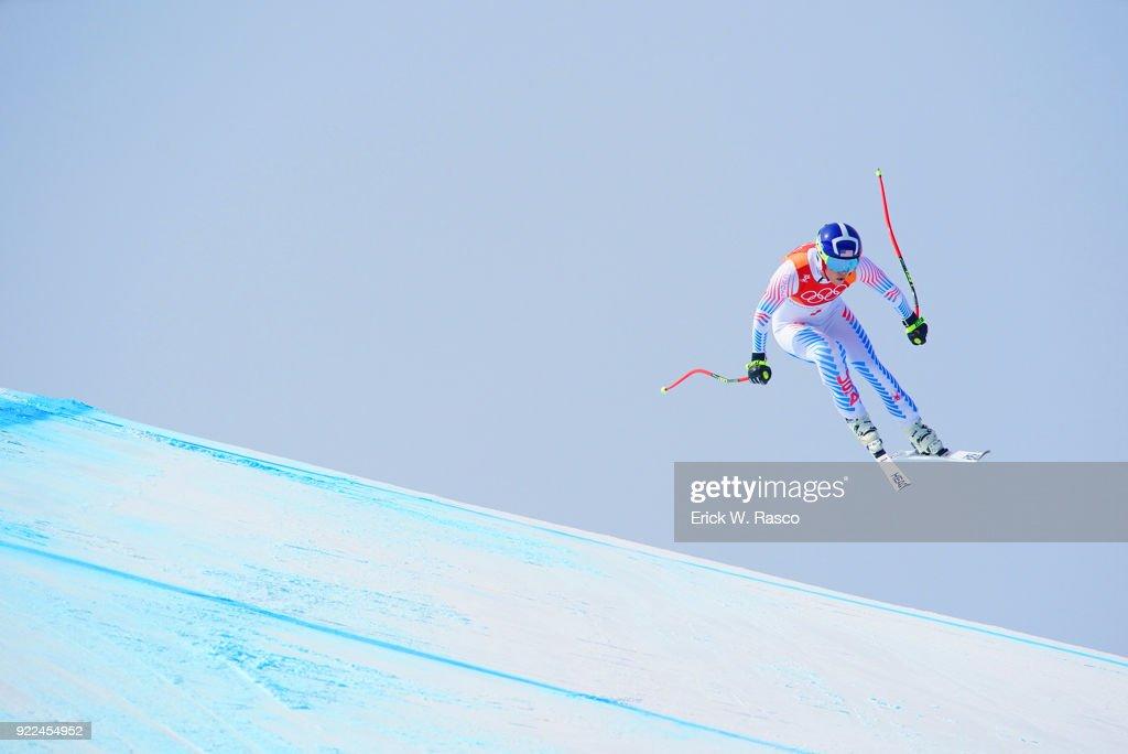 USA Lindsey Vonn (7) in action during Women's Downhill Final at Jeongseon Alpine Centre. Vonn won bronze medal. PyeongChang, South Korea 2/21/2018 Erick W. Rasco X161687 TK1 )