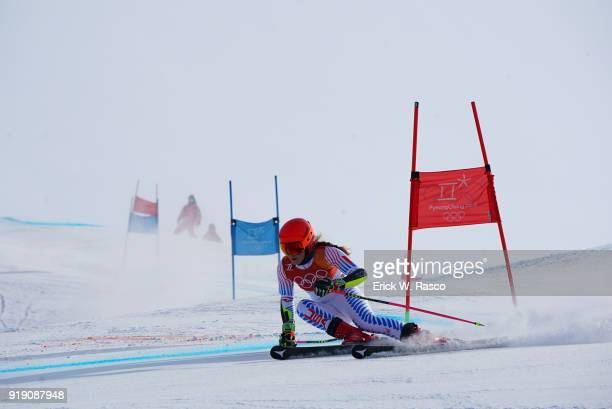 2018 Winter Olympics USA Mikaela Shiffrin in action during Women's Giant Slalom at Yongpyong Alpine Centre Shiffrin won gold in the event PyeongChang...