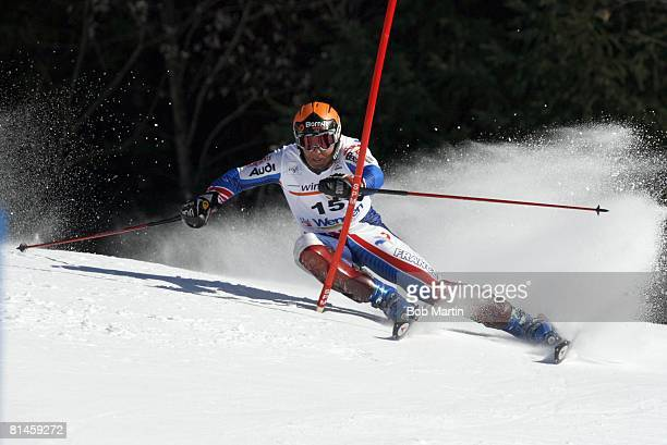 Alpine Skiing FIS Ski World Cup France JeanPierre Vidal in action during Slalom competition Wengen Switzerland 1/15/2006