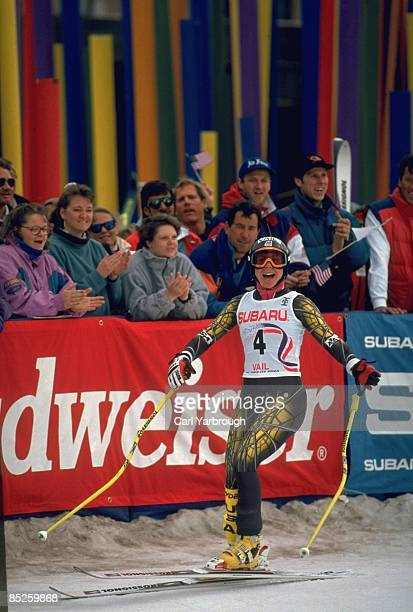 FIS World Cup USA Diann Roffe after Women's Grand Slalom at Vail Ski Resort Vail CO 3/16/1994 CREDIT Carl Yarbrough
