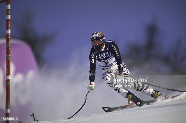 Alpine Skiing FIS World Ski Championships Germany Katja Seizinger in action during Super G competition Sestriere Italy 2/3/19972/15/1997