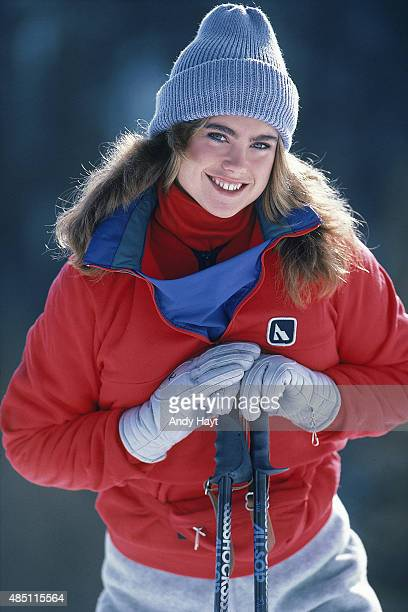 Sporting Look Portrait of model Kathy Ireland wearing polypropylene ski jacket by Serac during photo shoot at Taos Ski Valley Taos County NM CREDIT...