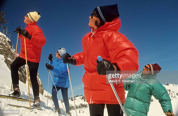 Sporting Look Portrait of skiers Gray Reynolds Arlene Taylor Margaret Cameron and Dennis Staley on mountain wearing down parkas by Gerry Mountain...