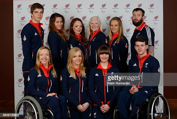 Alpine Skiing team back left to right James Whitley Caroline Powell Jade Etherington Kelly Gallagher Charlotte Evans and Mick Brenna With front left...