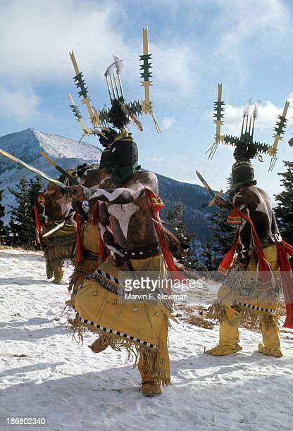 The Silver Country View of Mescalero Apache Tribe indians doing Mountain God dance for snow at Ski Apache The Mescalero own the Sierra Blanca ski...