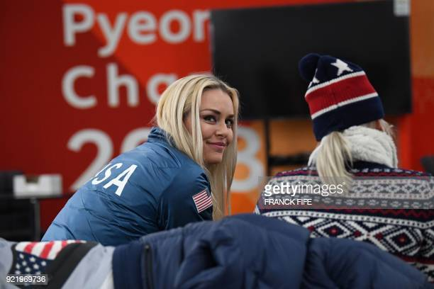 Alpine skiing women's downhill bronze medallist USA's Lindsey Vonn smiles backstage at the Athletes' Lounge during the medal ceremonies at the...
