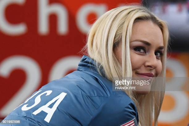 TOPSHOT Alpine skiing women's downhill bronze medallist USA's Lindsey Vonn smiles backstage at the Athletes' Lounge during the medal ceremonies at...