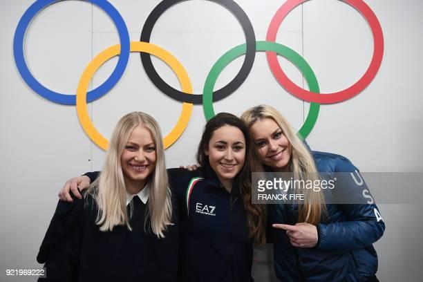 Alpine skiing women's downhill winners Norway's silver medallist Ragnhild Mowinckel, Italy's gold medallist Sofia Goggia and USA's bronze medallist...