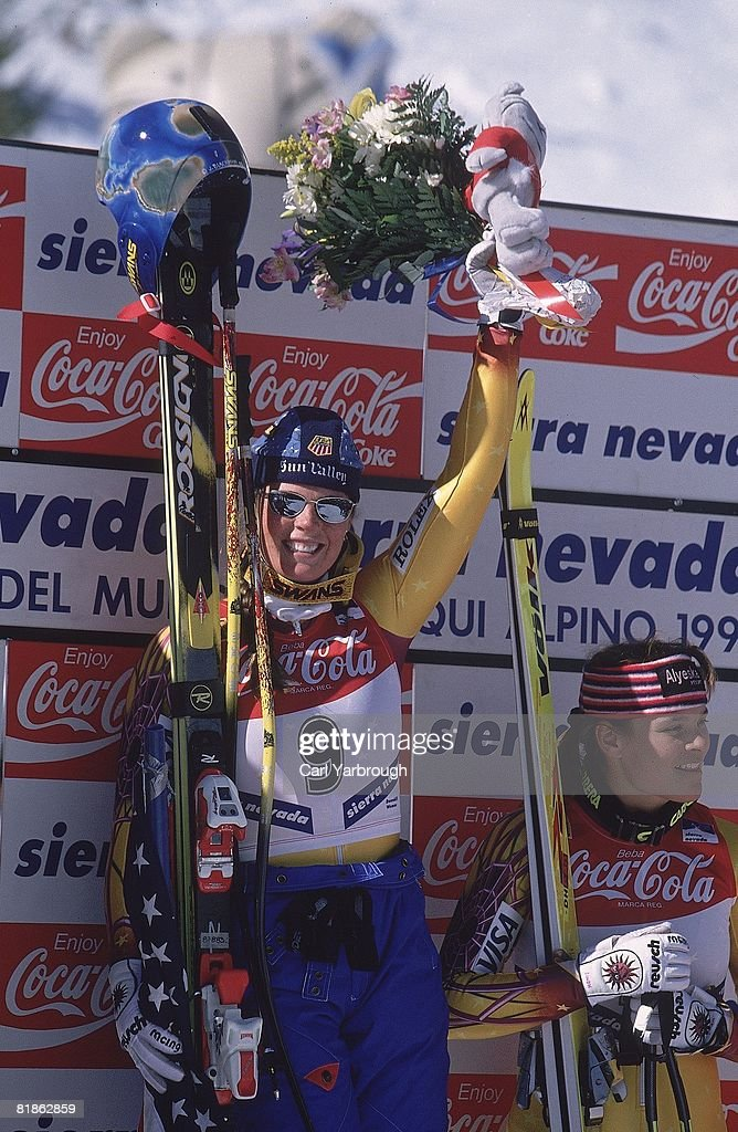 World Championships, USA Picabo Street victorious after winning downhill competition, Sierra Nevada, ESP 2/18/1996