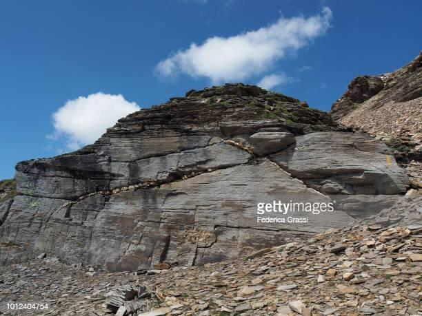 Alpine Trail Marker On Granite Rock On Mount Pizzo Diei