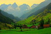 Alpine village, Bernese Oberland swiss alps landscape, Susten Pass, Switzerland