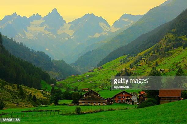 Alpine village, Bernese Oberland swiss alps landscape, Susten Pass, Switzerland