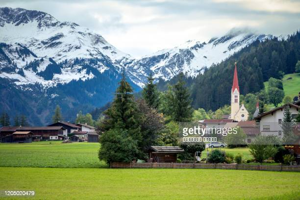 alpine village of holzgau, lechtal, austria. - austria stock pictures, royalty-free photos & images