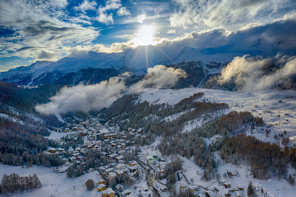 Alpine village of Madesimo covered with snow, Italy