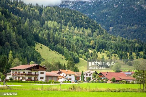 alpine village of martinau, lechtal, austria. - lech stock pictures, royalty-free photos & images