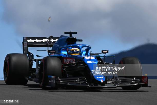 Alpine's Spanish driver Fernando Alonso drives during the first practice session of the Portuguese Formula One Grand Prix at the Algarve...