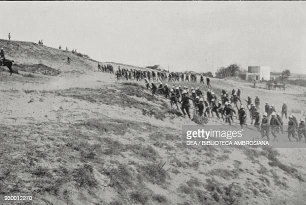 Alpini setting out to conquer the marabout in Zurug, conquest of Misrata, Libya, Italian-Turkish war, from L'Illustrazione Italiana, Year XXXIX, No...
