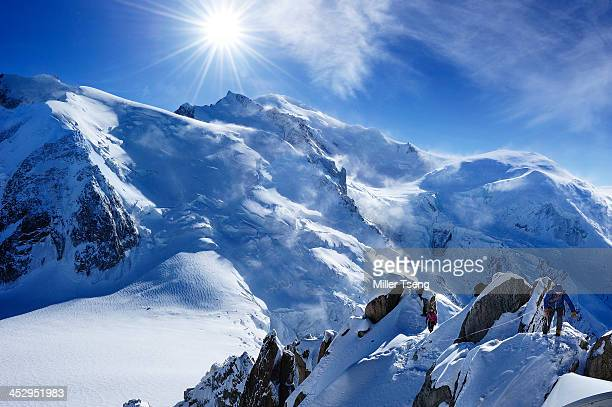 alpinist in mont blanc - mont blanc massif stock photos and pictures