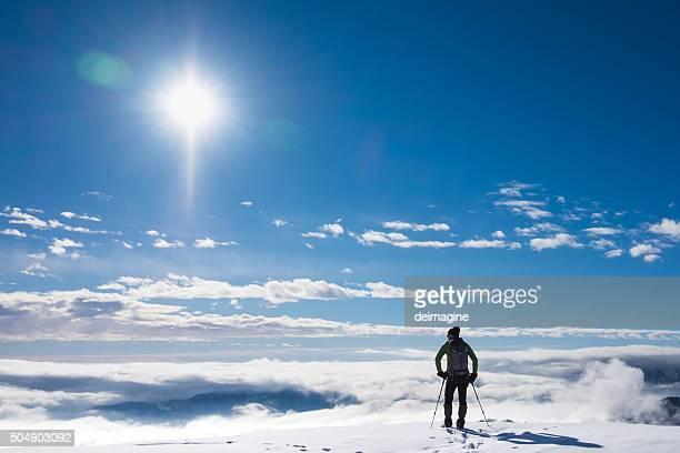 Alpinisten auf schneebedeckte Berge