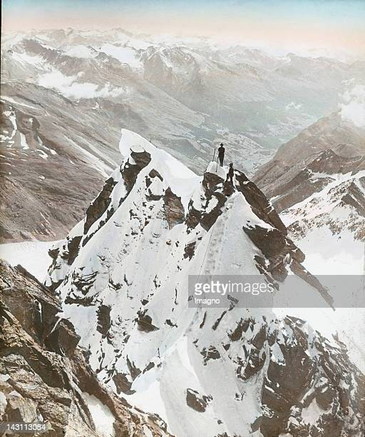 Alpinists on the way to the Grossglockner Salzburg Austria Handcolored lantern slide around 1920