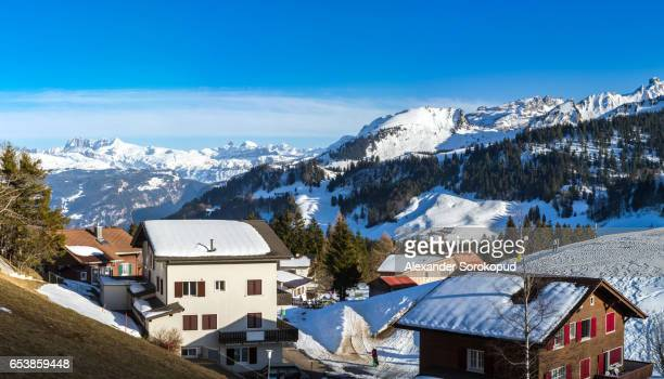 Alps in snow. Switzerland. Wide-angle HD-quality panoramic view.