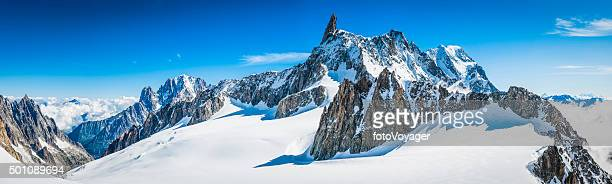 alps jagged mountain peaks panorama above snowy vallee blanche chamonix - european alps stock photos and pictures