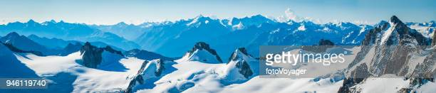 alps snowy glaciers and rocky peaks mountain panorama france italy - snowcapped mountain stock pictures, royalty-free photos & images