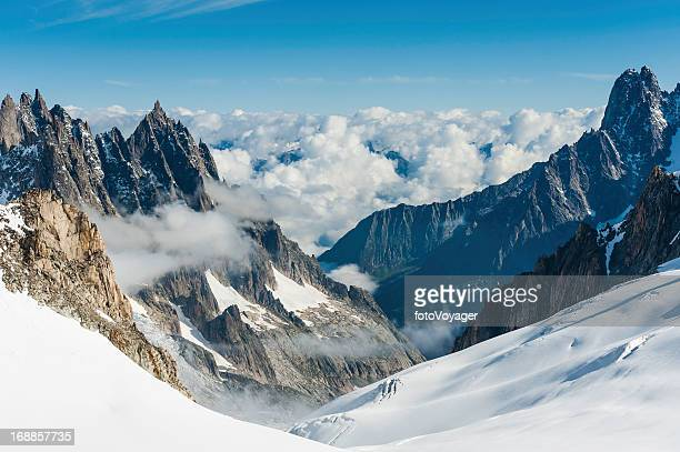 Alps snowy glaciers dramatic pinnacles above Chamonix France