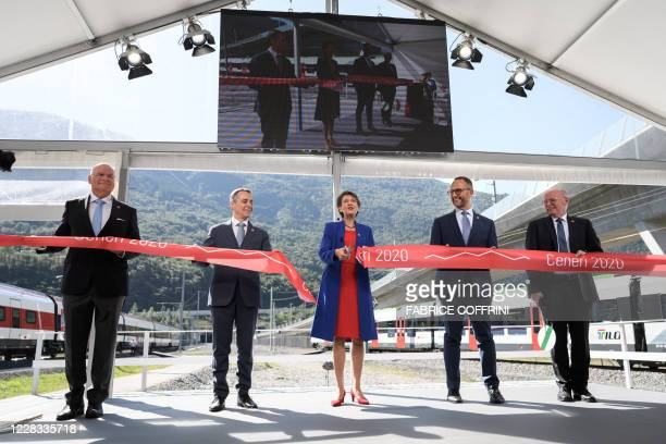 AlpTransit CEO Dieter Schwank, Swiss Foreign Minister Ignazio Cassis, Swiss President Simonetta Sommaruga, Ticino Canton President Norman Gobbi and...