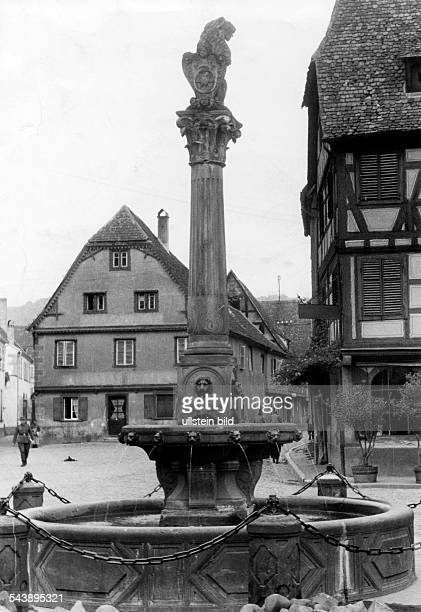 Alsace in 2 WW under german occupation France Alsace Molsheim City fountain ca 1940 Photographer Erich Engel Published by 'Volk im Bild'...