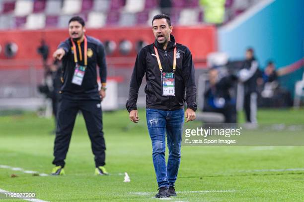 Al-Sadd Head Coach Xavier Hernandez gestures during the FIFA Club World Cup 5th place match between Al-Sadd Sports Club and Esperance Sportive de...