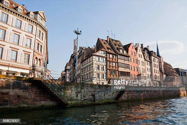 Alsatian Houses On The Quai Des Bateliers By The River Ill Strasbourg France