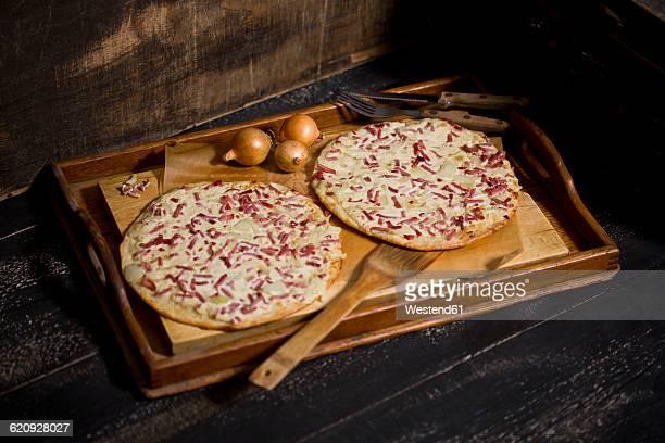Alsatian tarte flambee, wooden tray