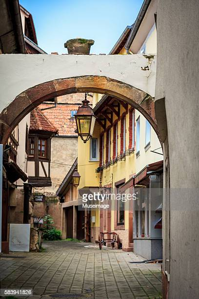 Alsatian traditional architecture and arches in Obernai, Alsace