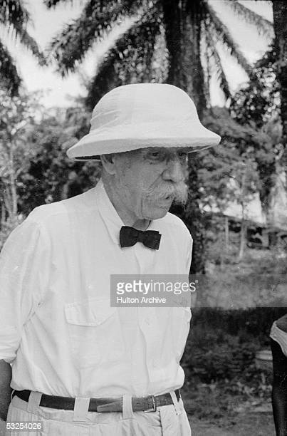 Alsatianborn German theologian musician physician and medical missionary Albert Schweitzer on the grounds of the hospital he founded at Lambarene...