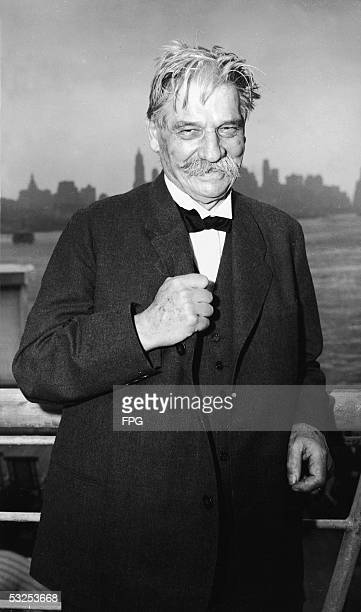 Alsatianborn German theologian physician and medical missionary Albert Schweitzer on board the 'Nieuw Amsterdam' as he arrives in New York en route...