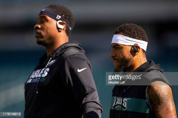 Alshon Jeffery and DeSean Jackson of the Philadelphia Eagles look on prior to the game against the Chicago Bears at Lincoln Financial Field on...