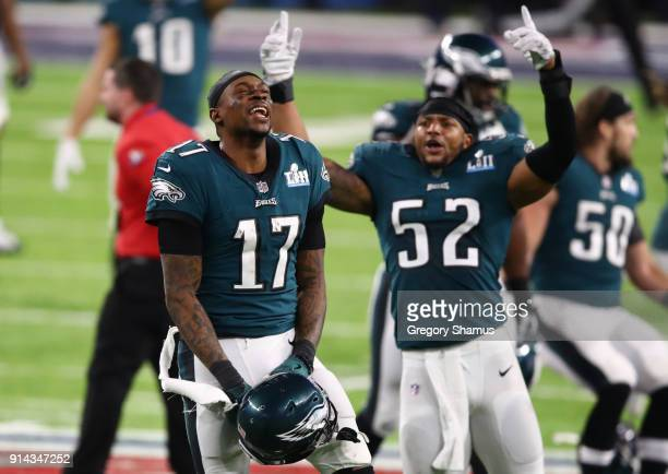 Alshon Jeffery and Najee Goode of the Philadelphia Eagles celebrate defeating the New England Patriots 4133 in Super Bowl LII at US Bank Stadium on...
